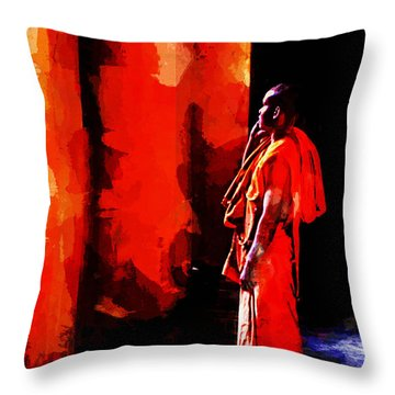 Cool Orange Monk Throw Pillow by Cameron Wood