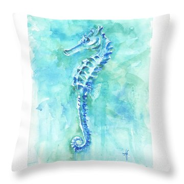 Throw Pillow featuring the painting Cool Sea Horse by Arthur Fix