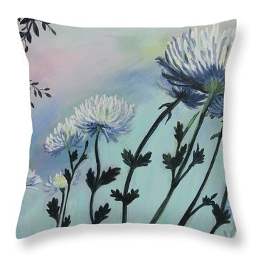 Cool White Spider Mums Throw Pillow