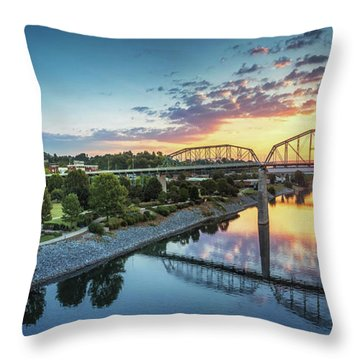 Coolidge Park Sunrise Panoramic Throw Pillow by Steven Llorca