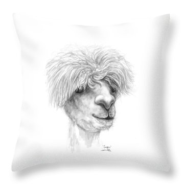 Throw Pillow featuring the drawing Cooper by K Llamas