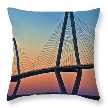 Cooper River Bridge Sunset Throw Pillow by Suzanne Stout