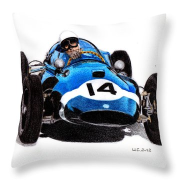 Cooper T51 Stirling Moss 1959 Throw Pillow by Ugo Capeto