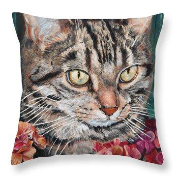 Cooper The Cat Throw Pillow by Enzie Shahmiri