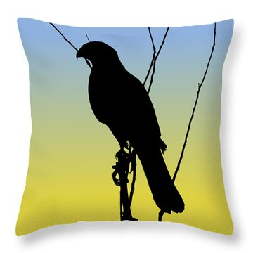 Coopers Hawk Silhouette At Sunrise Throw Pillow