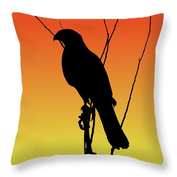 Coopers Hawk Silhouette At Sunset Throw Pillow
