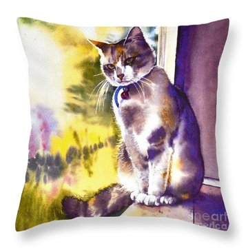Throw Pillow featuring the painting Coops The Cat by Sandra Phryce-Jones