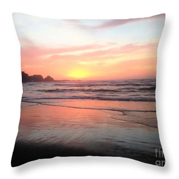 Throw Pillow featuring the painting Coos Bay by Linda Shackelford