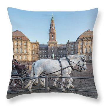 Throw Pillow featuring the photograph Copenhagen Christianborg Palace Horse And Cart by Antony McAulay