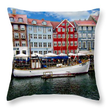 Copenhagen - Denmark Throw Pillow by Anthony Dezenzio