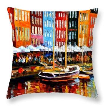 Copenhagen Denmark Throw Pillow by Leonid Afremov