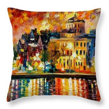 Copenhagen Original Oil Painting  Throw Pillow by Leonid Afremov