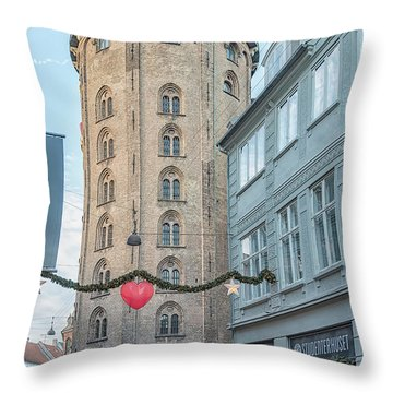 Throw Pillow featuring the photograph Copenhagen Round Tower Street View by Antony McAulay