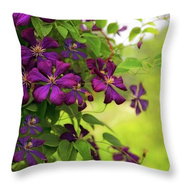 Copious Clematis Throw Pillow