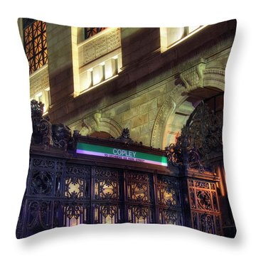Throw Pillow featuring the photograph Copley Square T Stop - Boston by Joann Vitali