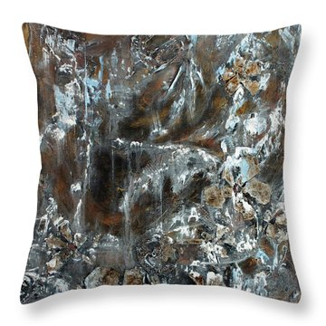 Throw Pillow featuring the painting Copper And Mica by Joanne Smoley