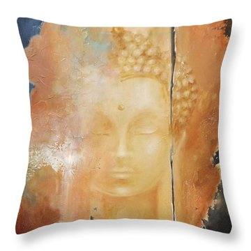 Copper Buddha Throw Pillow