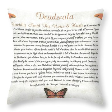 Copper Butterfly Desiderata Throw Pillow by Desiderata Gallery