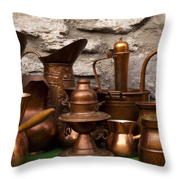 Copper Cookware Throw Pillow by Rae Tucker