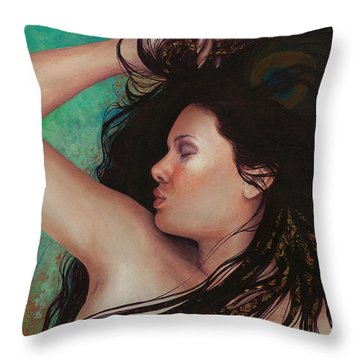 Throw Pillow featuring the painting Copper Dreamer by Ragen Mendenhall