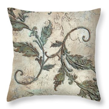 Copper Leaves Throw Pillow by Chris Brandley