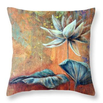 Copper Lotus Throw Pillow