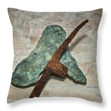 Copper Nugget Rock Hammer And Map Throw Pillow
