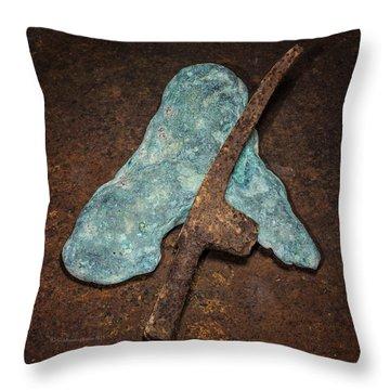 Copper Nugget Rock Hammer Throw Pillow