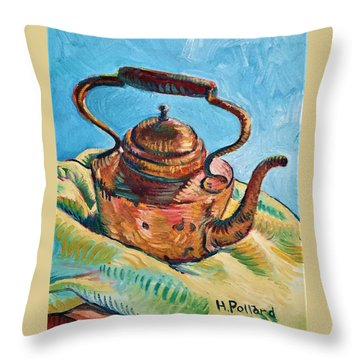 Copper Teapot Throw Pillow