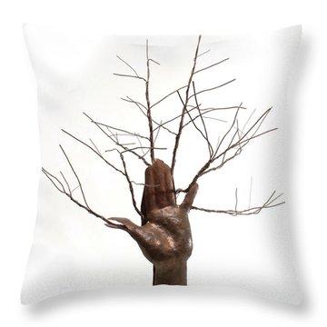 Copper Tree Hand A Sculpture By Adam Long Throw Pillow by Adam Long