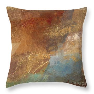 Copper Turquoise Abstract Throw Pillow