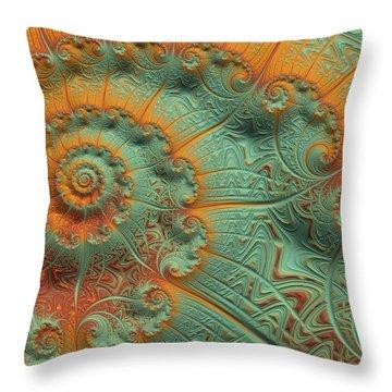 Copper Verdigris Throw Pillow