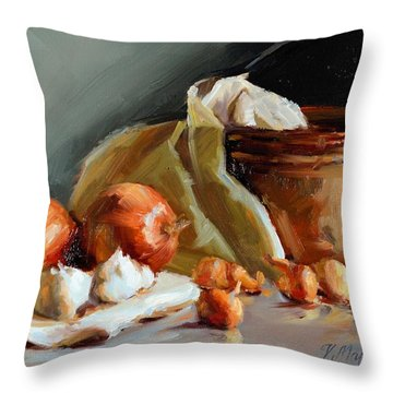 Copper Vessel And Onions Throw Pillow