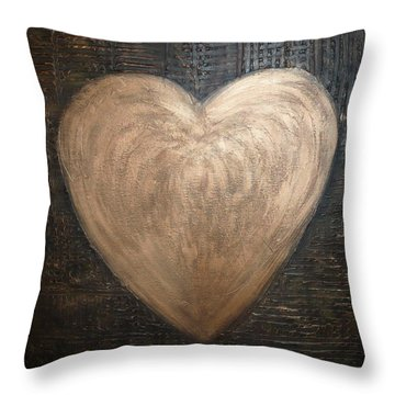 Coppery Heart Throw Pillow