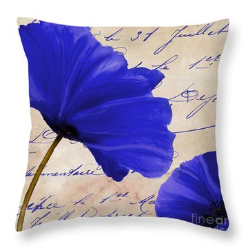 Coquelicots Bleue II Throw Pillow by Mindy Sommers