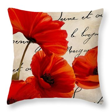 Coquelicots Rouge I Throw Pillow by Mindy Sommers