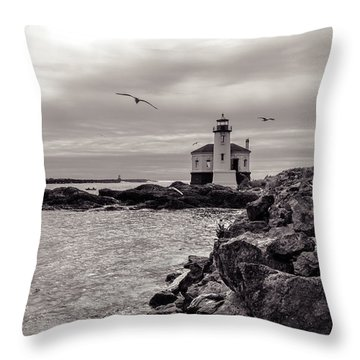 Coquille Lighthouse Oregon  Throw Pillow