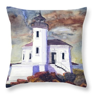 Throw Pillow featuring the painting Coquille Lighthouse Watercolor by Chriss Pagani