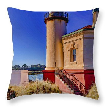 Coquille River Lighthouse-2 Throw Pillow