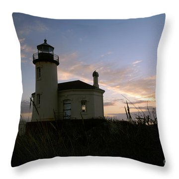 Coquille River Lighthouse At Sunset Throw Pillow