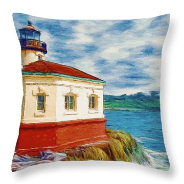 Coquille River Lighthouse Throw Pillow by Jeff Kolker