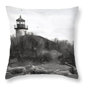 Coquille River Lighthouse Oregon Black And White Giclee Art Print Throw Pillow