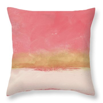 Coral And Gold Abstract 1- Art By Linda Woods Throw Pillow