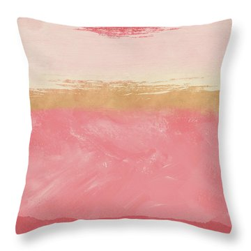 Coral And Gold Abstract 2- Art By Linda Woods Throw Pillow