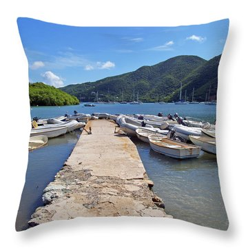 Coral Bay Dinghy Dock Throw Pillow
