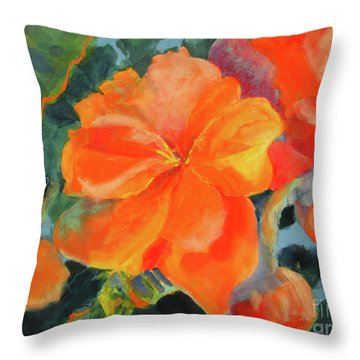 Throw Pillow featuring the painting Coral Begonias by Kathy Braud