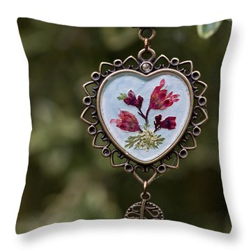 Coral Bell Pressed Flower Pendant Throw Pillow