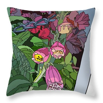 Coral Bells In The Garden Throw Pillow