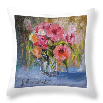 Throw Pillow featuring the painting Coral Bouquet by Jennifer Beaudet