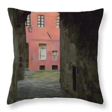 Coral Corridor Siena Italy Throw Pillow by Kelly Borsheim